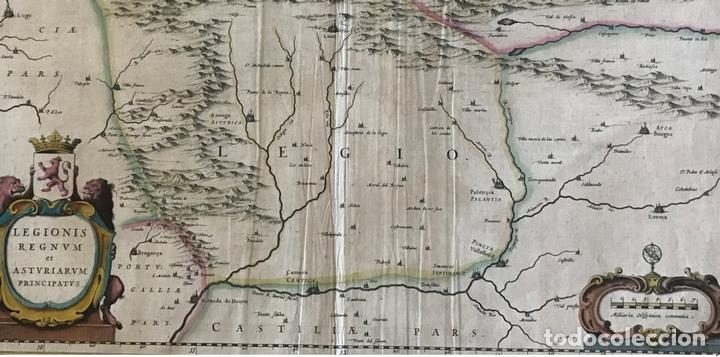 Arte: Gran mapa a color de Asturias, Cantabria, Castilla y León (España), 1652. Wilhelm Blaeu - Foto 3 - 171240674