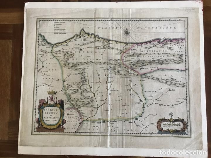 Arte: Gran mapa a color de Asturias, Cantabria, Castilla y León (España), 1652. Wilhelm Blaeu - Foto 4 - 171240674