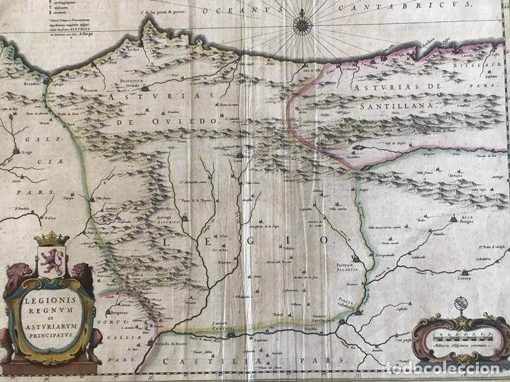 Arte: Gran mapa a color de Asturias, Cantabria, Castilla y León (España), 1652. Wilhelm Blaeu - Foto 9 - 171240674