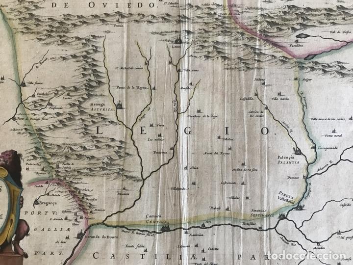 Arte: Gran mapa a color de Asturias, Cantabria, Castilla y León (España), 1652. Wilhelm Blaeu - Foto 10 - 171240674