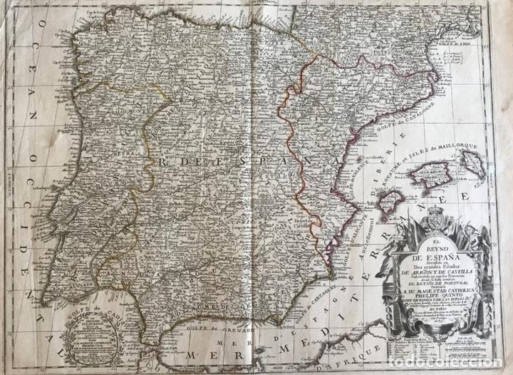 Gran Mapa De Espana Y Portugal 1740 Jean Bapt Buy Antique