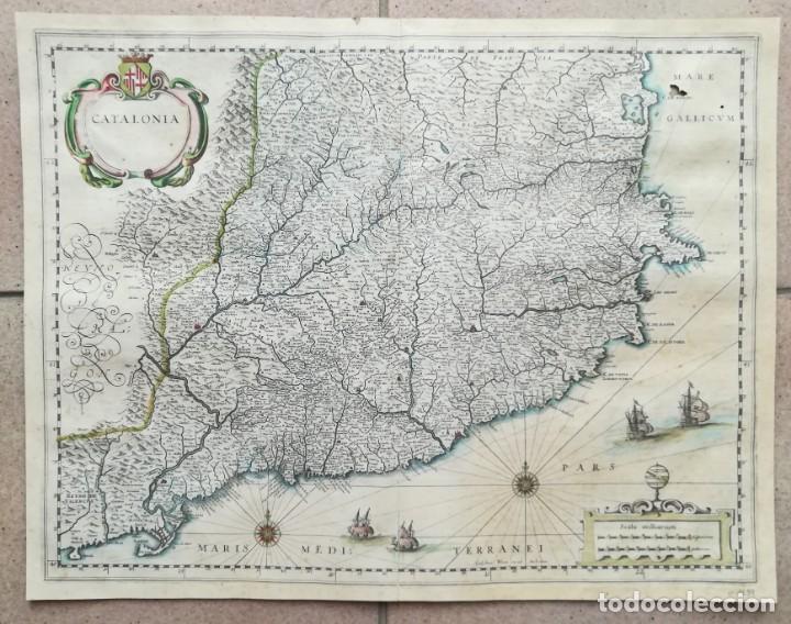 MAPA DE CATALUNYA - BLAEU - AÑO 1642 - ORIGINAL (Arte - Cartografía Antigua (hasta S. XIX))