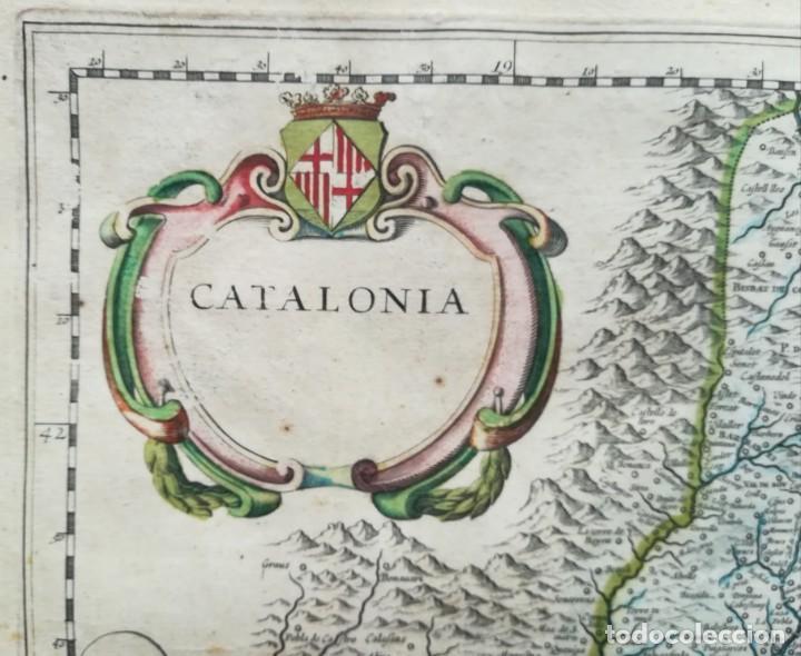 Arte: MAPA DE CATALUNYA - BLAEU - AÑO 1642 - ORIGINAL - Foto 3 - 171359429