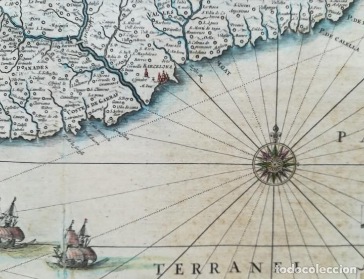 Arte: MAPA DE CATALUNYA - BLAEU - AÑO 1642 - ORIGINAL - Foto 4 - 171359429