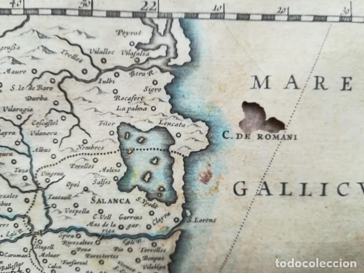 Arte: MAPA DE CATALUNYA - BLAEU - AÑO 1642 - ORIGINAL - Foto 5 - 171359429