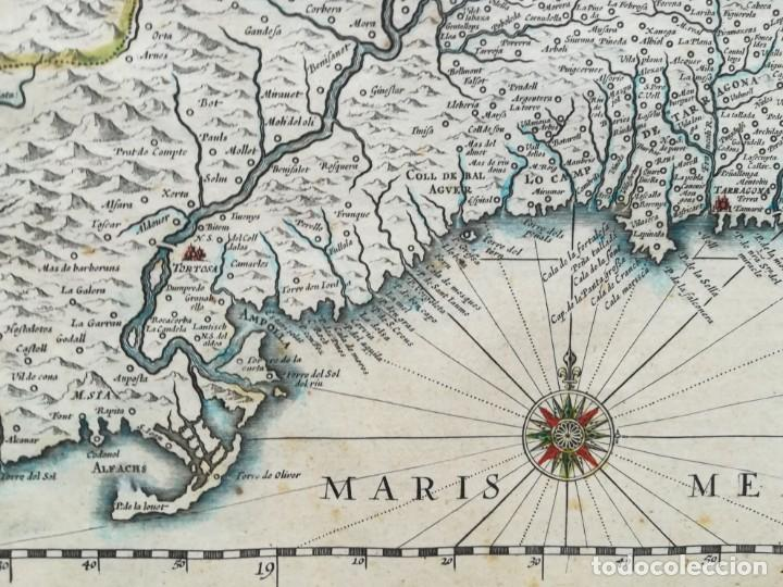 Arte: MAPA DE CATALUNYA - BLAEU - AÑO 1642 - ORIGINAL - Foto 6 - 171359429