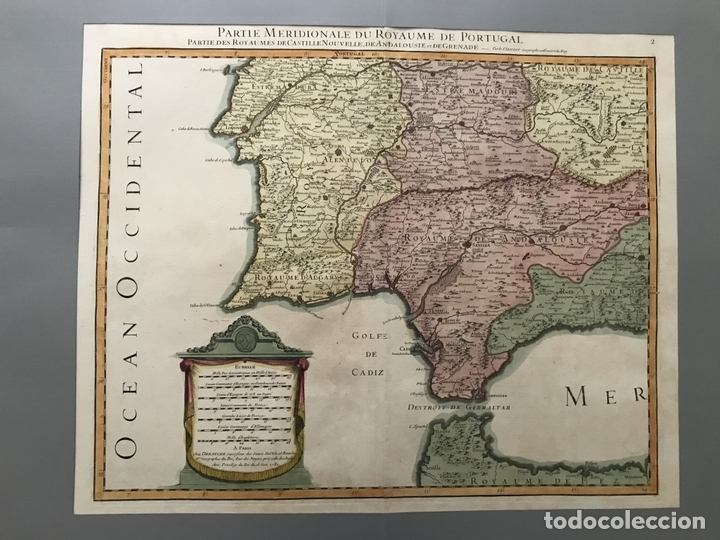 Arte: Gran mapa del sur de Portugal y Suroeste de España, 1781. Jaillot/Dezauche - Foto 2 - 171451964