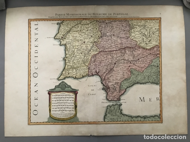 Arte: Gran mapa del sur de Portugal y Suroeste de España, 1781. Jaillot/Dezauche - Foto 3 - 171451964
