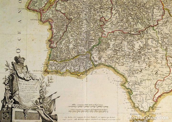 MAPA DOS REYNOS DE PORTUGAL E ALGARVE. MAPA. GRABADO. LALTRÉ. PARIS. FRANCIA. XVIII (Arte - Cartografía Antigua (hasta S. XIX))
