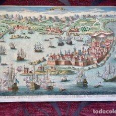 Art: GRABADO - SIGLO XVIII - MAPA DEL PUERTO CÁDIZ - AVELINE - COLOREADO A MANO. Lote 172358738