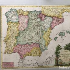 Arte: GRAN MAPA A COLOR DE ESPAÑA Y PORTUGAL, 1757. ROBERT DE VAUGONDY. Lote 172366904