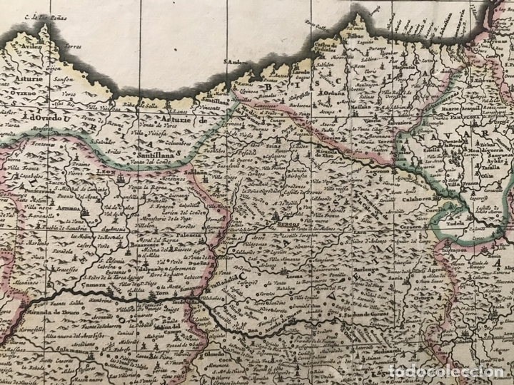 Arte: Gran mapa a color de Portugal y España, hacia 1680. Frederick de Witt - Foto 3 - 172369059