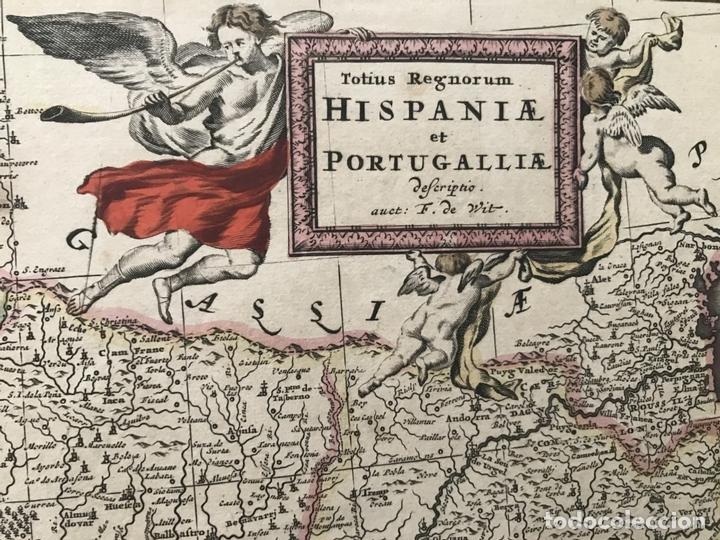 Arte: Gran mapa a color de Portugal y España, hacia 1680. Frederick de Witt - Foto 4 - 172369059