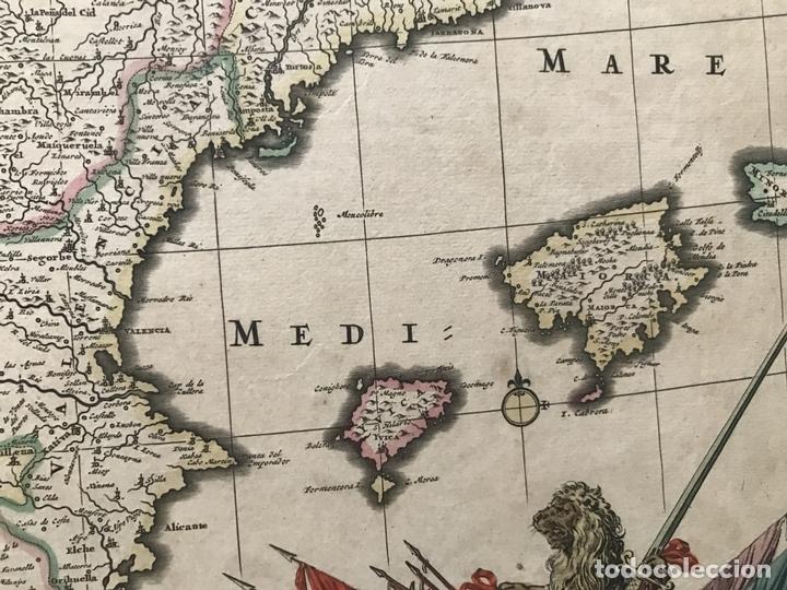Arte: Gran mapa a color de Portugal y España, hacia 1680. Frederick de Witt - Foto 6 - 172369059