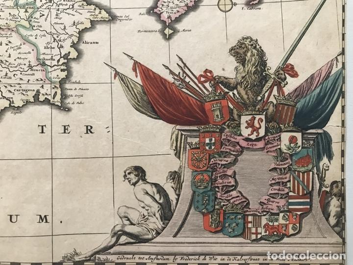 Arte: Gran mapa a color de Portugal y España, hacia 1680. Frederick de Witt - Foto 7 - 172369059