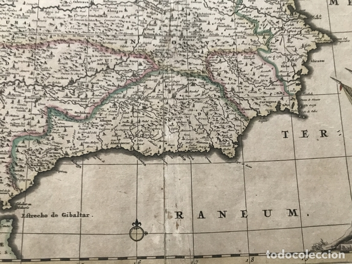 Arte: Gran mapa a color de Portugal y España, hacia 1680. Frederick de Witt - Foto 9 - 172369059