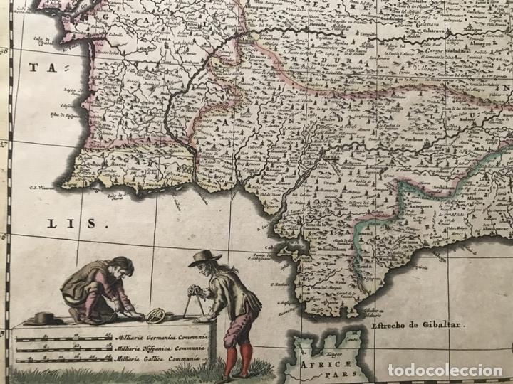 Arte: Gran mapa a color de Portugal y España, hacia 1680. Frederick de Witt - Foto 10 - 172369059