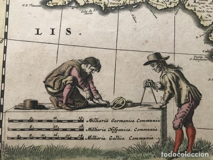 Arte: Gran mapa a color de Portugal y España, hacia 1680. Frederick de Witt - Foto 11 - 172369059