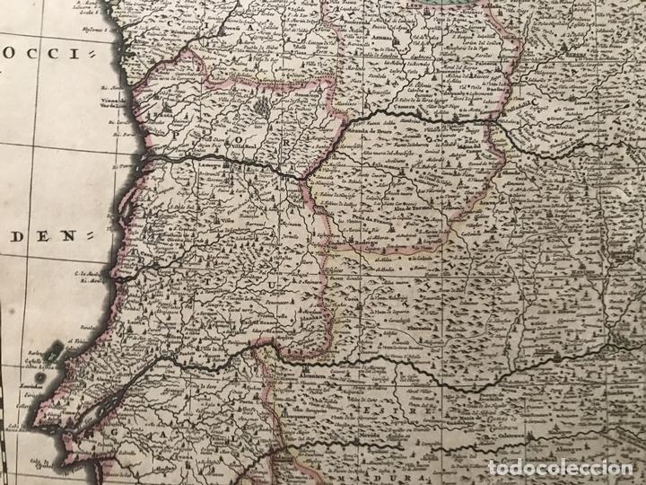 Arte: Gran mapa a color de Portugal y España, hacia 1680. Frederick de Witt - Foto 13 - 172369059
