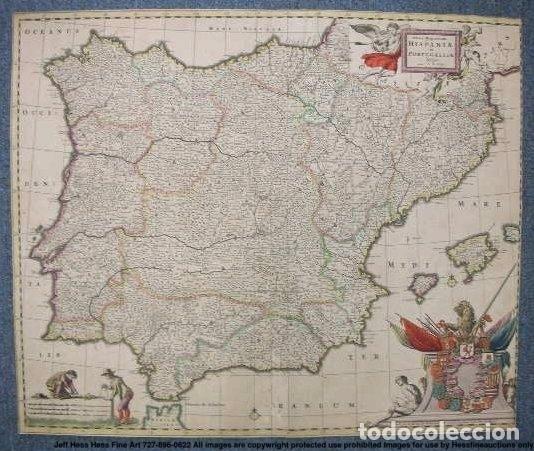 Arte: Gran mapa a color de Portugal y España, hacia 1680. Frederick de Witt - Foto 15 - 172369059