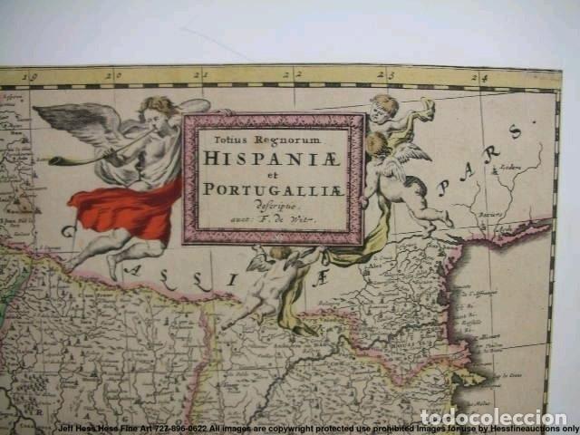Arte: Gran mapa a color de Portugal y España, hacia 1680. Frederick de Witt - Foto 16 - 172369059