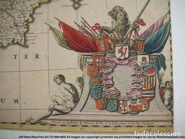 Arte: Gran mapa a color de Portugal y España, hacia 1680. Frederick de Witt - Foto 19 - 172369059