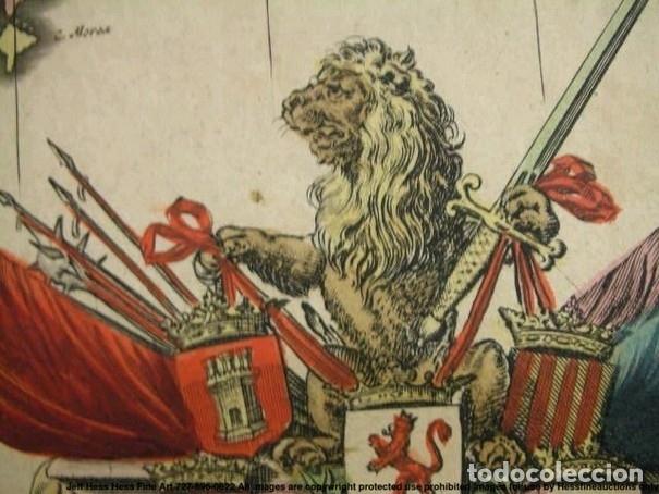 Arte: Gran mapa a color de Portugal y España, hacia 1680. Frederick de Witt - Foto 20 - 172369059