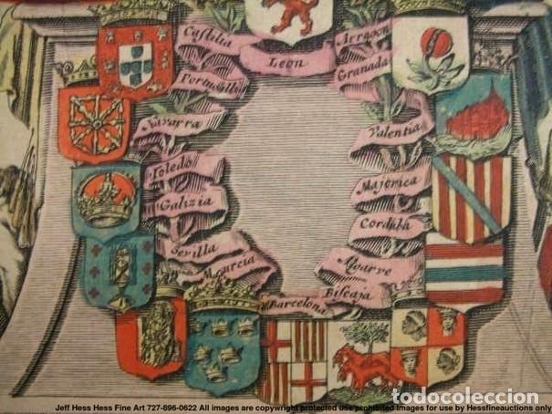 Arte: Gran mapa a color de Portugal y España, hacia 1680. Frederick de Witt - Foto 22 - 172369059