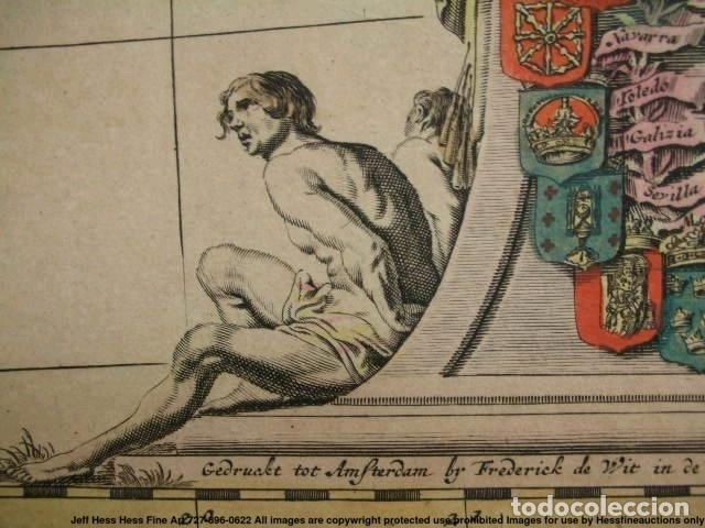 Arte: Gran mapa a color de Portugal y España, hacia 1680. Frederick de Witt - Foto 23 - 172369059