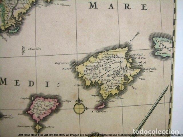 Arte: Gran mapa a color de Portugal y España, hacia 1680. Frederick de Witt - Foto 24 - 172369059