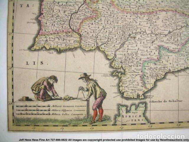 Arte: Gran mapa a color de Portugal y España, hacia 1680. Frederick de Witt - Foto 25 - 172369059