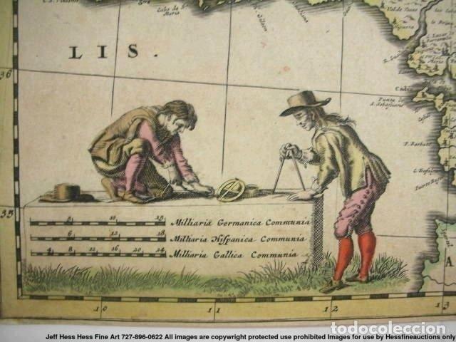 Arte: Gran mapa a color de Portugal y España, hacia 1680. Frederick de Witt - Foto 26 - 172369059
