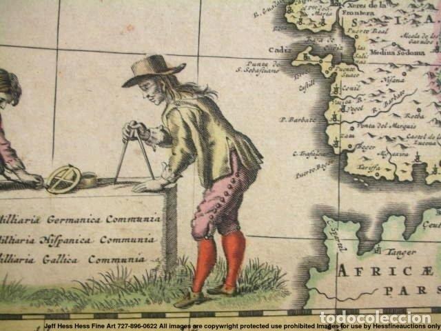Arte: Gran mapa a color de Portugal y España, hacia 1680. Frederick de Witt - Foto 27 - 172369059