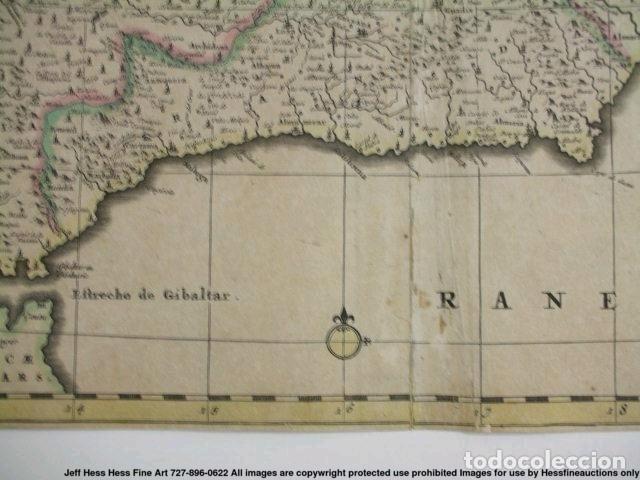 Arte: Gran mapa a color de Portugal y España, hacia 1680. Frederick de Witt - Foto 29 - 172369059