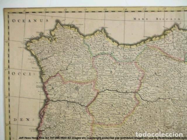 Arte: Gran mapa a color de Portugal y España, hacia 1680. Frederick de Witt - Foto 30 - 172369059