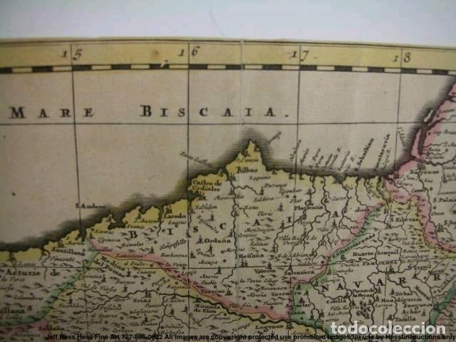 Arte: Gran mapa a color de Portugal y España, hacia 1680. Frederick de Witt - Foto 33 - 172369059