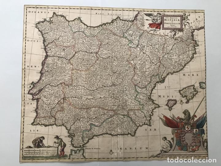 GRAN MAPA A COLOR DE PORTUGAL Y ESPAÑA, HACIA 1680. FREDERICK DE WITT (Arte - Cartografía Antigua (hasta S. XIX))
