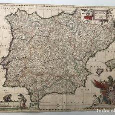 Arte: GRAN MAPA A COLOR DE PORTUGAL Y ESPAÑA, HACIA 1680. FREDERICK DE WITT. Lote 172369059