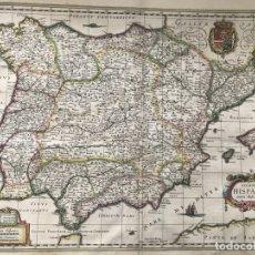 Arte: GRAN MAPA A COLOR DE PORTUGAL Y ESPAÑA, 1638. W. BLAEU. Lote 172388213