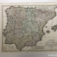 Arte: GRAN MAPA DE ESPAÑA Y PORTUGAL, 1804. GOTTA. Lote 172391950