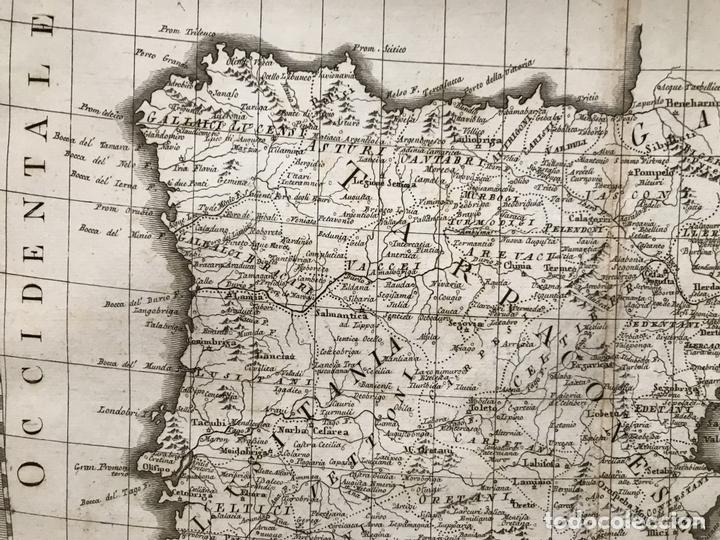 Arte: Gran mapa de España y Portugal antiguos, 1799. Giovanni María Cassini - Foto 3 - 172428082