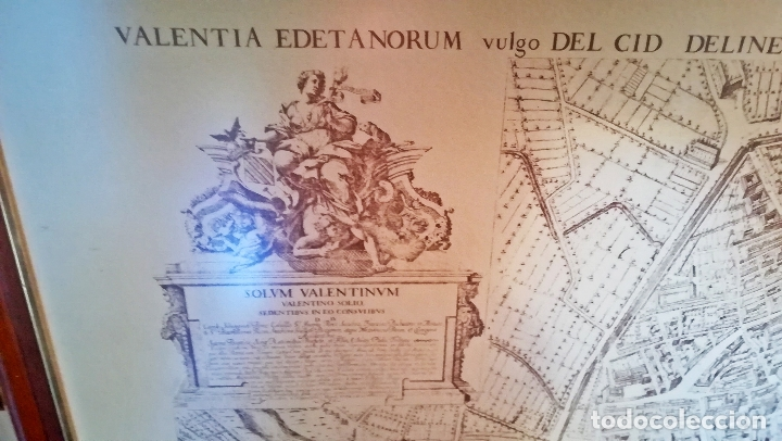 Arte: Cuadro con Grabado de - Antigua VALENTIA EDETANORUM de Tomas Vicente Tosca - Impreso en 1972-110 x80 - Foto 3 - 172586457