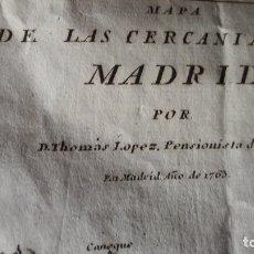 Arte: MAPA CERCANIAS MADRID TOMÁS LÓPEZ 1763. Lote 172864214