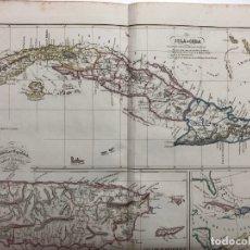 Arte: MAPA DE LAS ANTILLAS ESPAÑOLAS POR CAMILO ALABERN. 1850. Lote 173128653