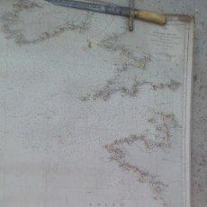 Arte: MAPA ENTELADO GOLFO DE VIZCAYA DIRECCION DE HIDROGRAFIA 1867. Lote 173130444
