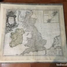 Arte: ANTIGUO MAPA 1749 A GENERAL MAP. OF GREAT BRITAIN AND IRELAND WITH PART OF HOLLAND FLANDERS FRANCE . Lote 173386304