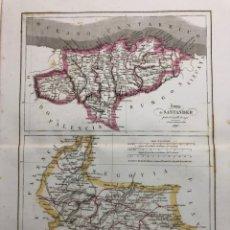 Arte: MAPA DE LAS PROVINCIAS DE SANTANDER Y VALLADOLID. GRABADO POR R. ALABERN Y E. MABON. 1847. Lote 173747523