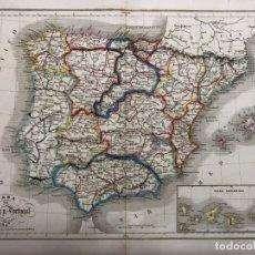 Arte: MAPA DE ESPAÑA Y PORTUGAL. GRABADO POR R. ALABERN Y E. MABON. 1847. Lote 173758039