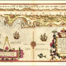 Arte: MAPA ANTIGUO DE VIZCAYA, PORTULANO DE WAGHENAER CON CERTIF. AUTENT. CARTA NAÚTICA COSTA VIZCAYA. Lote 174548754