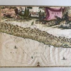 Arte: MAPA DEL LITORAL MARÍTIMO DE CHILE (AMÉRICA DEL SUR), 1761. MONTANUS/MEURS. Lote 174610412